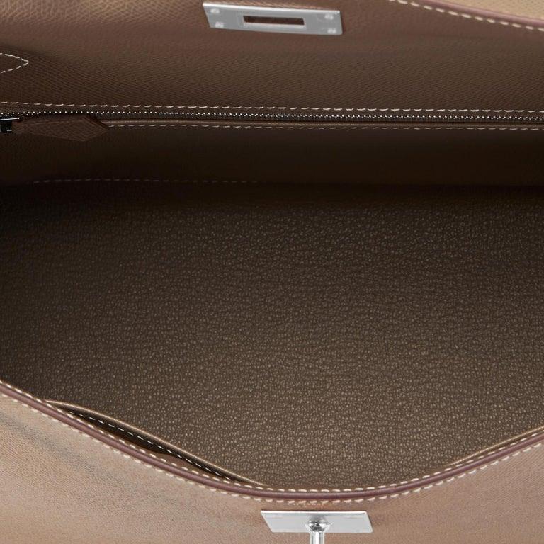 Hermes Kelly 28 Etoupe Epsom Sellier Taupe Shoulder Bag Y Stamp, 2020 For Sale 3