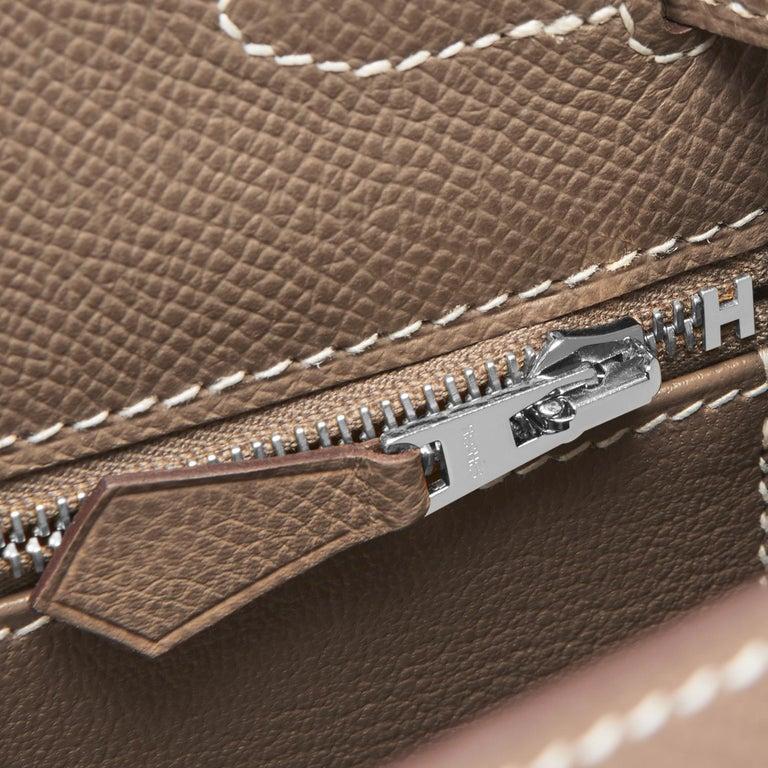 Hermes Kelly 28 Etoupe Epsom Sellier Taupe Shoulder Bag Y Stamp, 2020 For Sale 4
