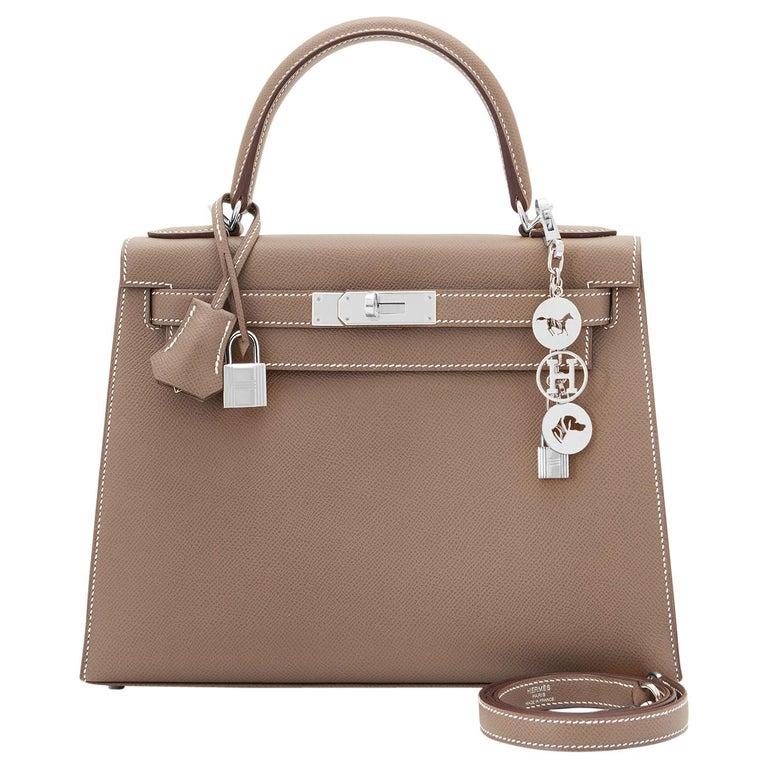 Hermes Kelly 28 Etoupe Epsom Sellier Taupe Shoulder Bag Y Stamp, 2020 For Sale