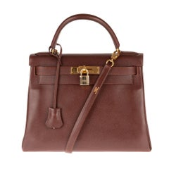 Hermès Kelly 28 handbag in Courchevel Brown leather with strap, gold hardware !