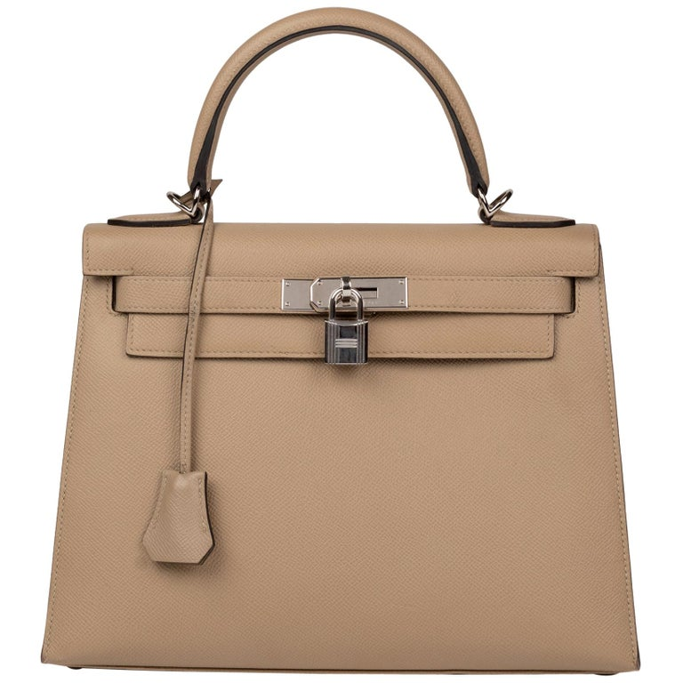 Hermès Kelly 28 handbag with strap in epsom leather Trench color, new condition  For Sale