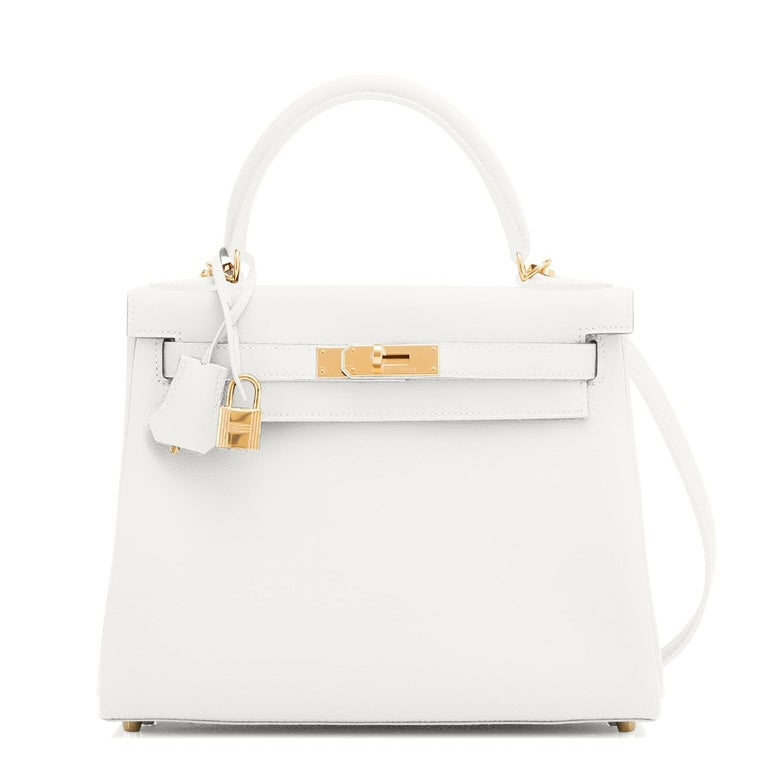 Gray Hermes Kelly 28 HSS White Blanc Gris Asphalte Kelly Gold VIP Y Stamp, 2020 For Sale