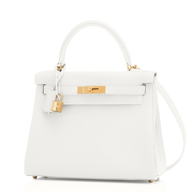 Hermes Kelly 28 HSS White Blanc Gris Asphalte Kelly Gold VIP Y Stamp, 2020 In New Condition For Sale In New York, NY