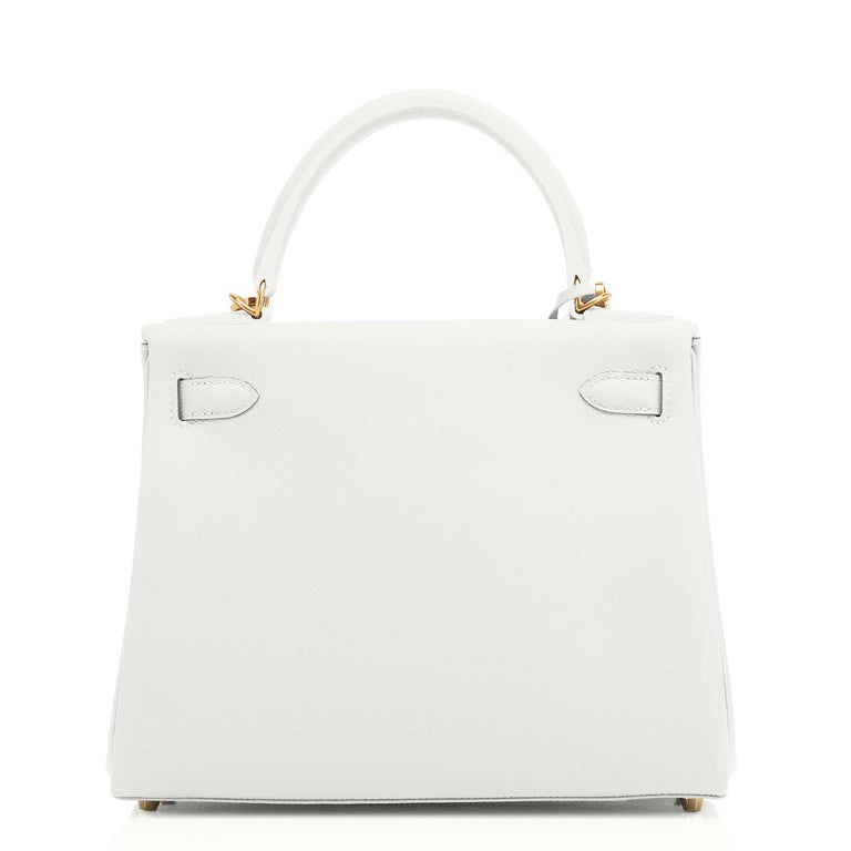 Women's Hermes Kelly 28 HSS White Blanc Gris Asphalte Kelly Gold VIP Y Stamp, 2020 For Sale