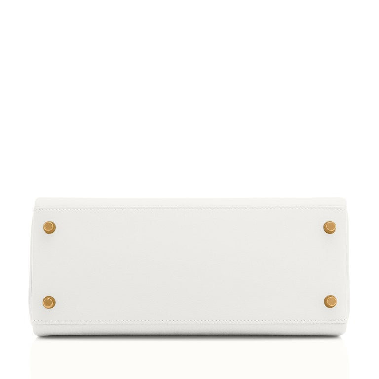 Hermes Kelly 28 HSS White Blanc Gris Asphalte Kelly Gold VIP Y Stamp, 2020 For Sale 2