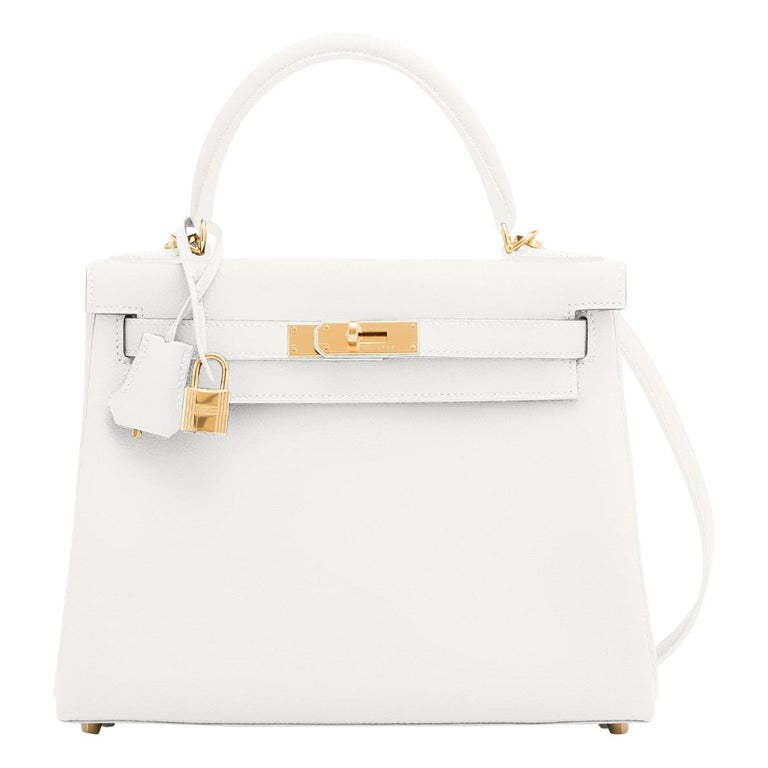 Hermes Kelly 28 HSS White Blanc Gris Asphalte Kelly Gold VIP Y Stamp, 2020 For Sale