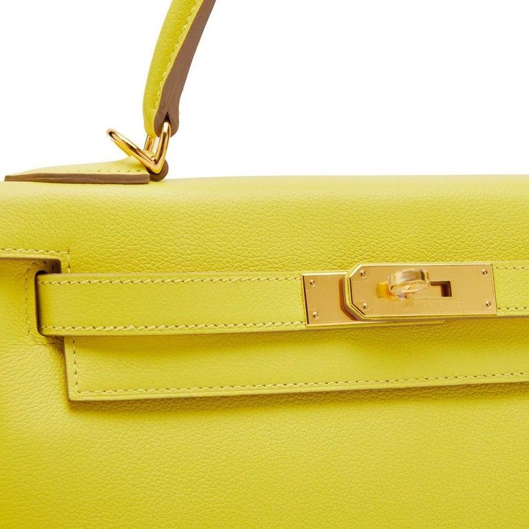 Yellow Hermès Kelly 28 Lime Evercolor Y For Sale