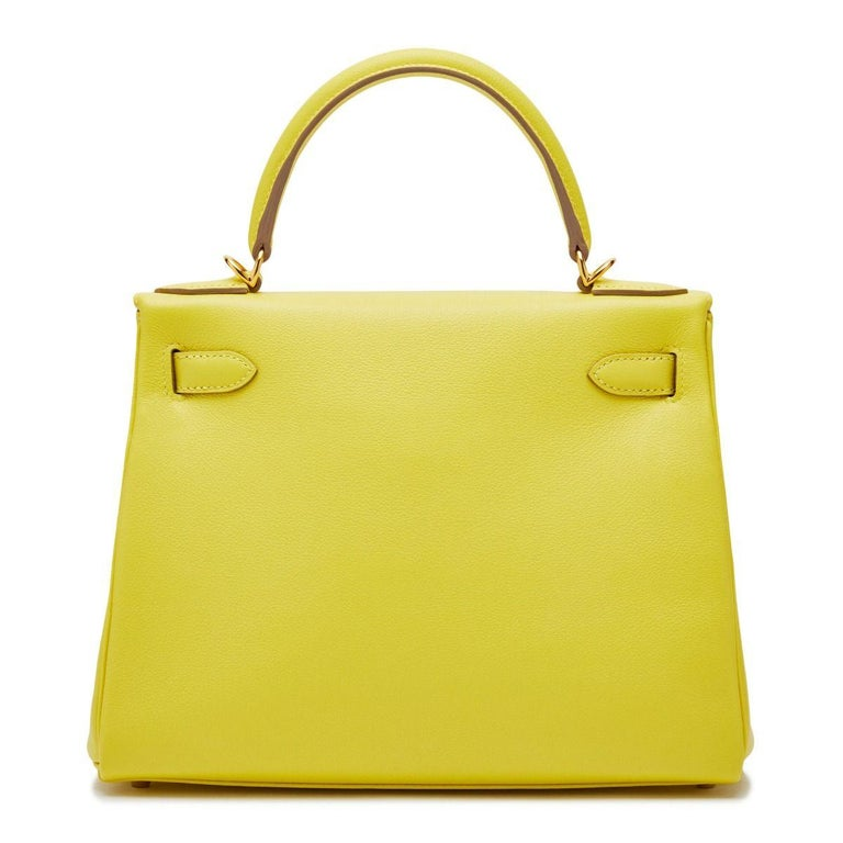Hermès Kelly 28 Lime Evercolor Y In Excellent Condition For Sale In London, GB
