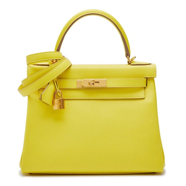 Women's Hermès Kelly 28 Lime Evercolor Y For Sale