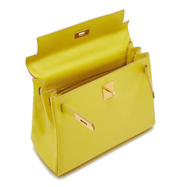 Hermès Kelly 28 Lime Evercolor Y For Sale 1