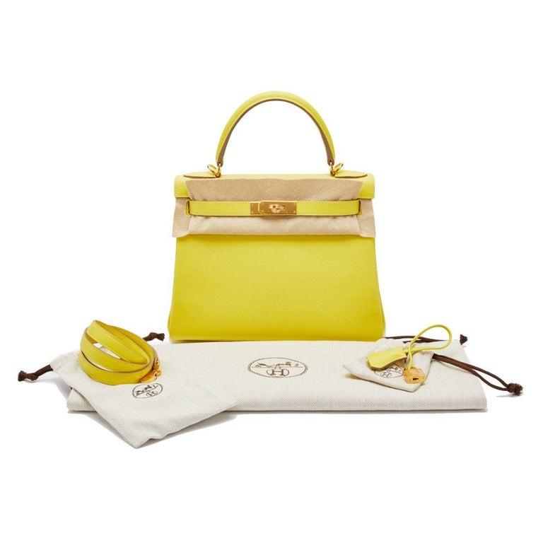 Hermès Kelly 28 Lime Evercolor Y For Sale 3