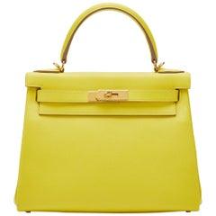 Hermès Kelly 28 Lime Evercolor Y