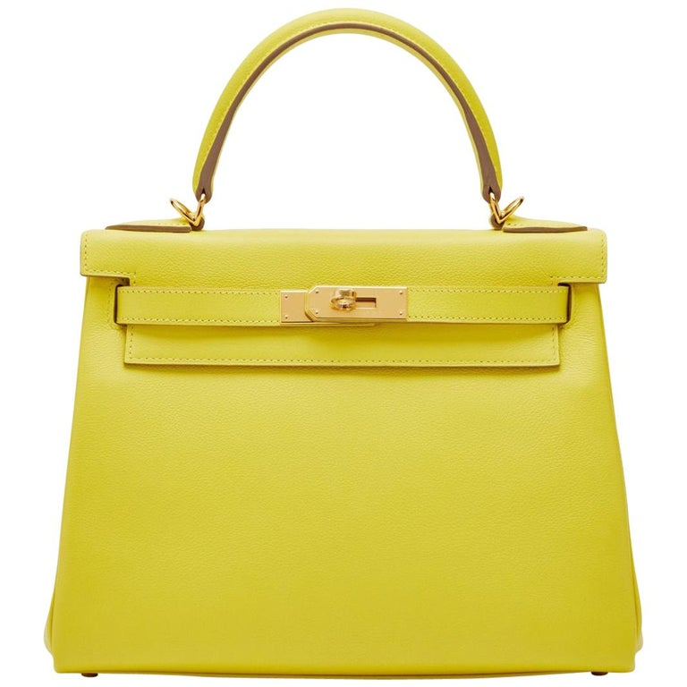 Hermès Kelly 28 Lime Evercolor Y For Sale