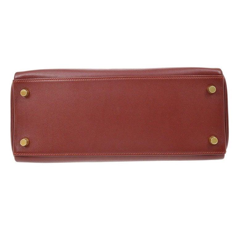 Brown Hermes Kelly 28 Merlot Wine Leather Gold  Top Handle Satchel Tote Shoulder Bag  For Sale