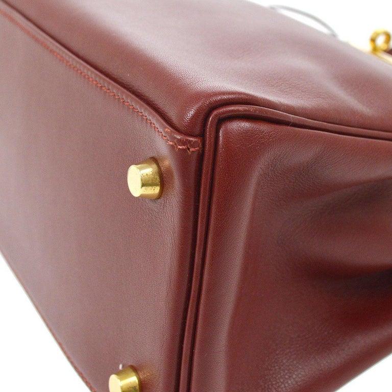 Women's Hermes Kelly 28 Merlot Wine Leather Gold  Top Handle Satchel Tote Shoulder Bag  For Sale