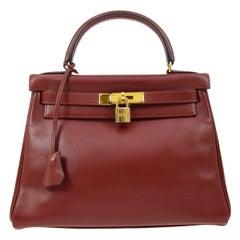 Hermes Kelly 28 Merlot Wine Leather Gold  Top Handle Satchel Tote Shoulder Bag