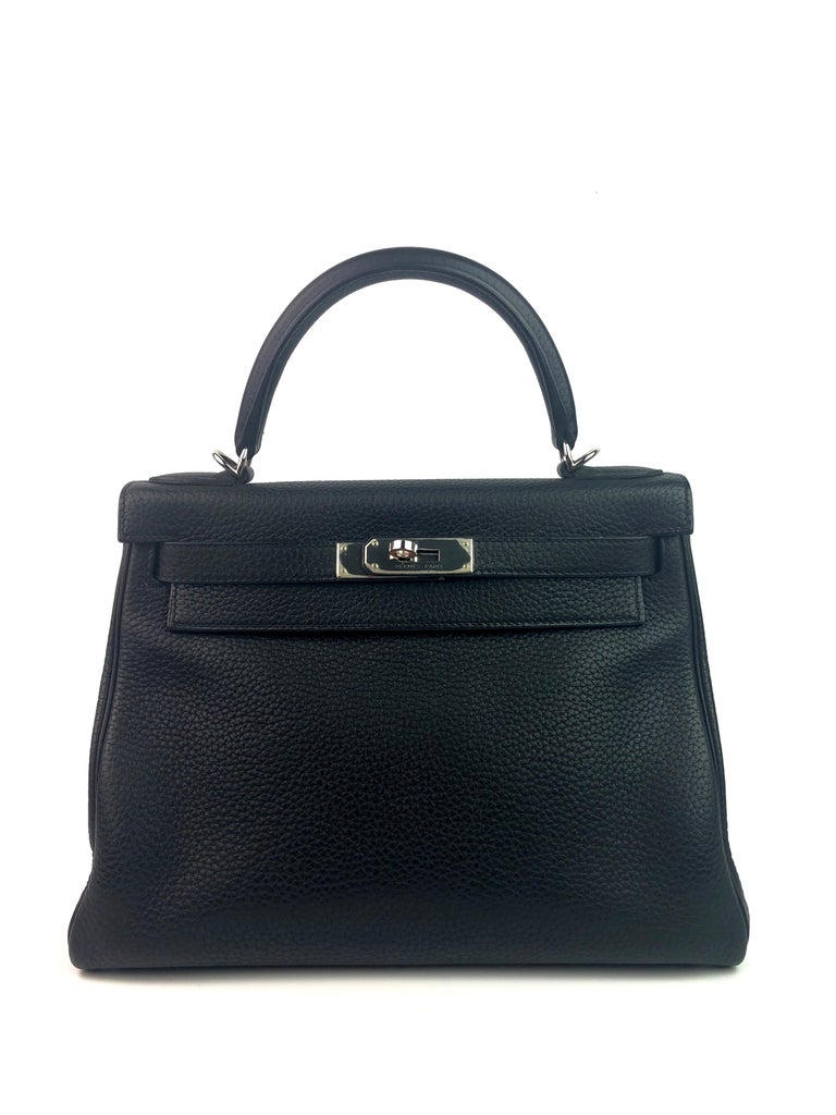 Hermes Kelly 28 Noir Black Palladium Hardware. Excellent Pristine Condition with Plastic on hardware. R stamp 2014.   Shop with confidence from Lux Addicts. Authenticity Guaranteed!