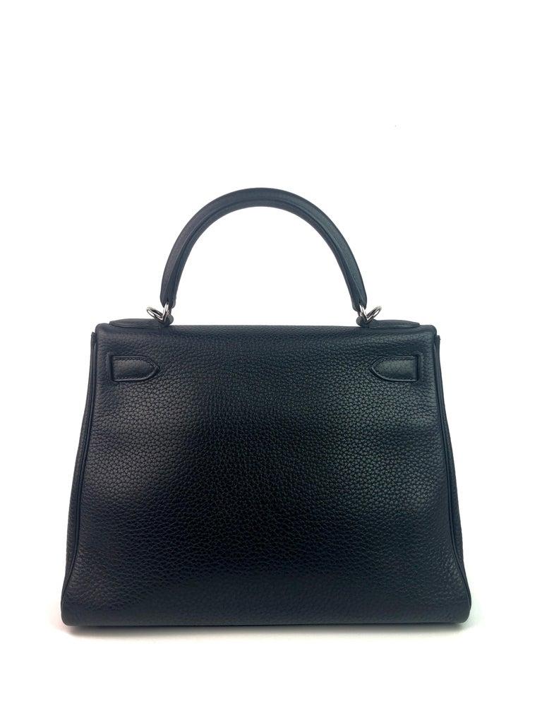 Women's or Men's Hermes Kelly 28 Noir Black Palladium Hardware  For Sale