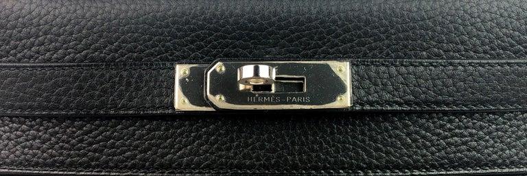 Hermes Kelly 28 Noir Black Palladium Hardware  For Sale 1