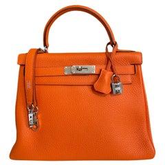 Hermes Kelly 28 Orange Togo Leather Palladium Hardware