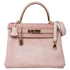 Hermes Kelly 28 Pink Dalmation Buffalo Skipper Leather Bag Gold Hardware