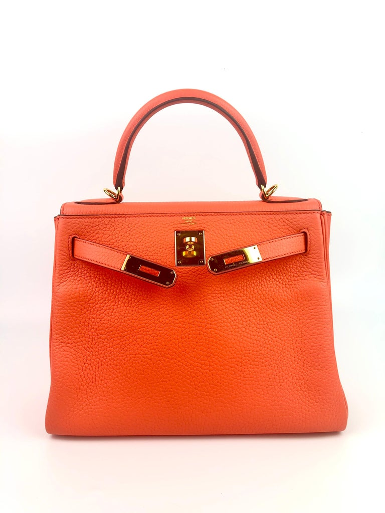 Red Hermes kelly 28 Poppy Orange Gold Hardware For Sale