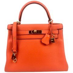 Hermes kelly 28 Poppy Orange Gold Hardware