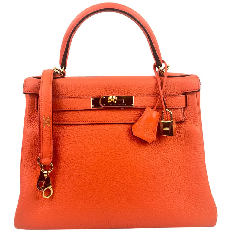 Hermes kelly 28 Poppy Orange Gold Hardware For Sale