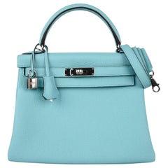 Hermes Kelly 28 Retourne Bag Blue Atoll Togo Palladium Hardware
