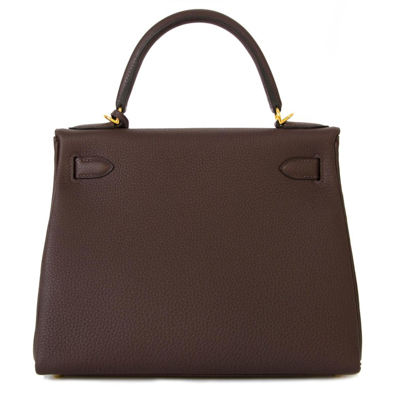 Black Hermès Kelly 28 Retourne Togo Chocolat GHW  For Sale