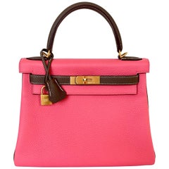Hermes Kelly 28 Rose Azalea Pink  and Etoupe Brushed Gold Hardware