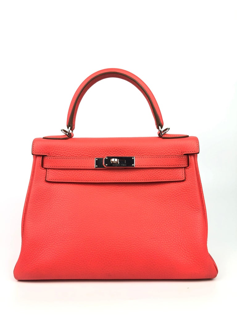 Hermes Kelly 28 Hermes Kelly 28 Rose Jaipur Togo Palladium Hardware. R stamp 2014. Excellent Condition, hairlines on hardware, Excellent corners and structure.   Shop with confidence from Lux Addicts. Authenticity Guaranteed
