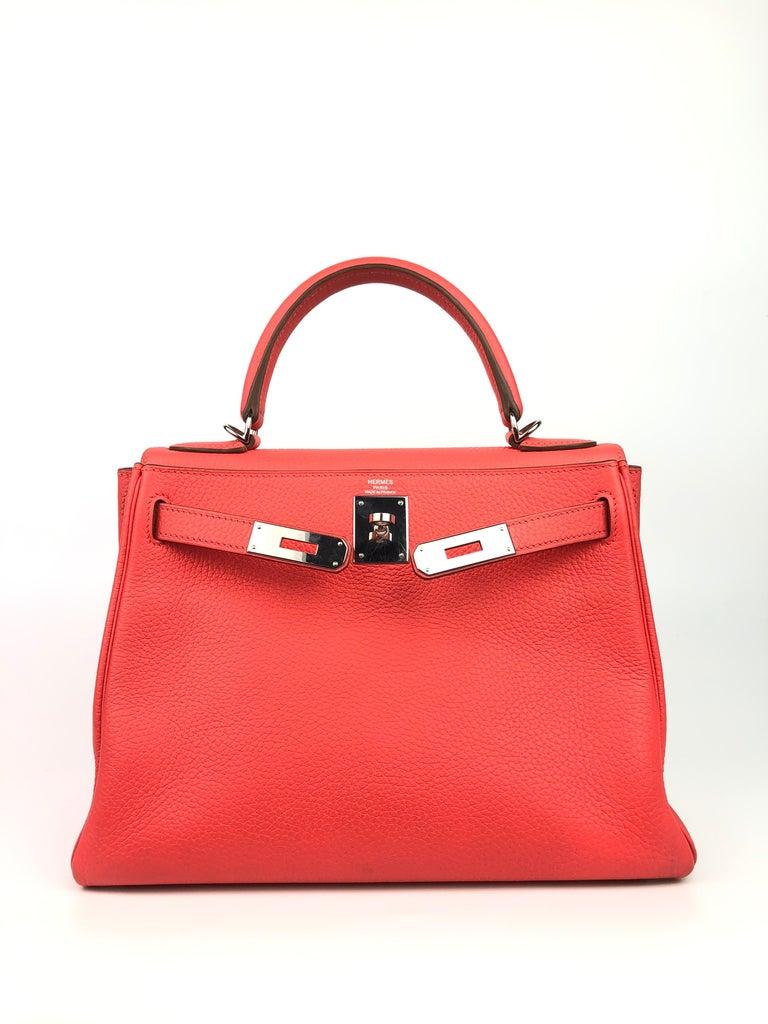 Red Hermes Kelly 28 Rose Jaipur Togo Palladium Hardware  For Sale
