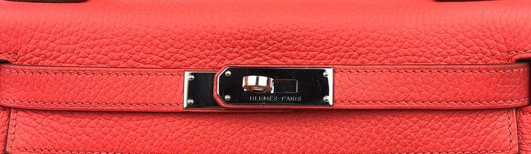 Women's or Men's Hermes Kelly 28 Rose Jaipur Togo Palladium Hardware  For Sale