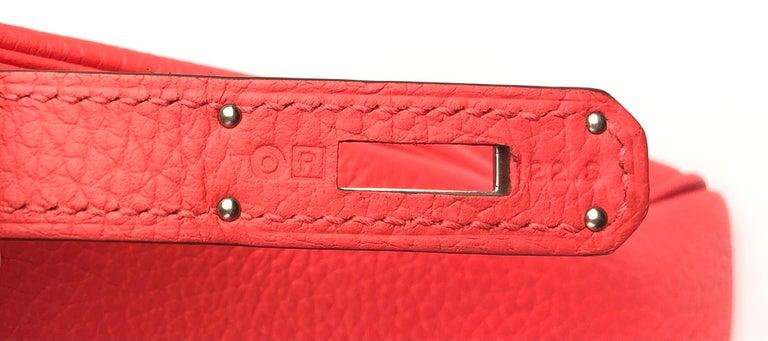 Hermes Kelly 28 Rose Jaipur Togo Palladium Hardware  For Sale 3