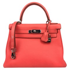Hermes Kelly 28 Rose Jaipur Togo Palladium Hardware