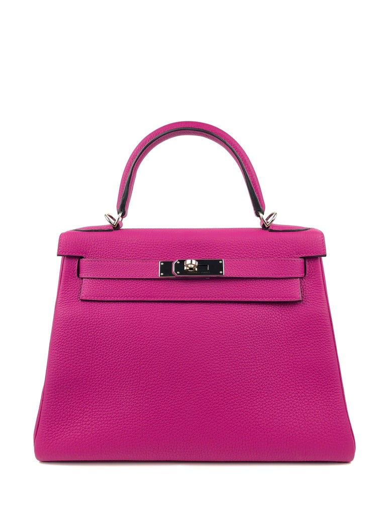 Hermes Kelly 28 Hermes Kelly 28 Rose Pourpre Pink Togo Palladium Hardware. C stamp 2018. Pristine Condition, little to no hairlines on hardware, Excellent corners and structure.   Shop with confidence from Lux Addicts. Authenticity guaranteed!