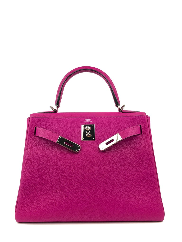 Pink Hermes Kelly 28 Rose Pourpre Togo Leather Palladium Hardware 2018 For Sale