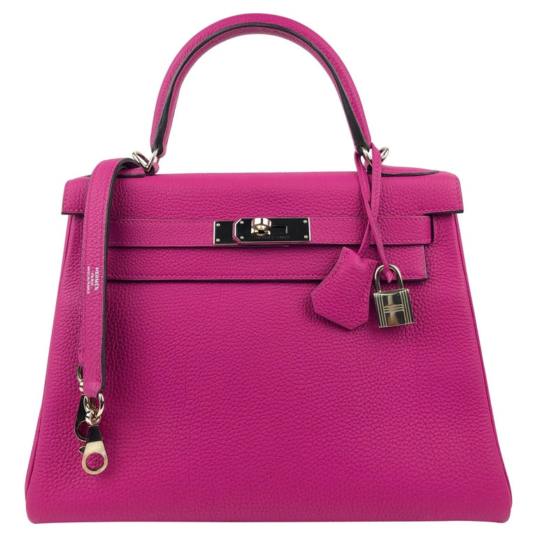 Hermes Kelly 28 Rose Pourpre Togo Leather Palladium Hardware 2018 For Sale
