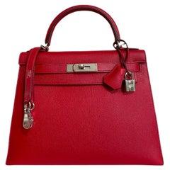 Hermes Kelly 28 Rouge Casaque Red Epsom Sellier Palladium Hardware