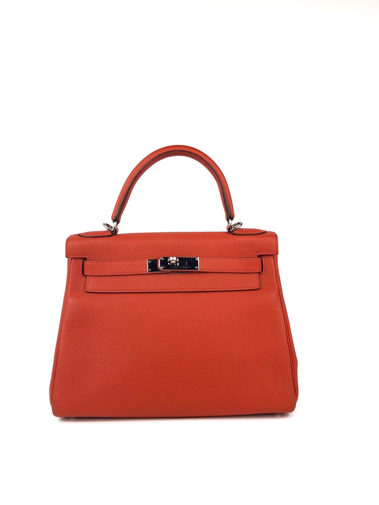 HERMES KELLY 28 ROUGE CASAQUE RED PALLADIUM HARDWARE X STAMP 2016.  Excellent Condition, regular scratching on hardware. Perfect corners and excellent structure.  Shop with confidence from Lux Addicts. Authenticity guaranteed or money back.