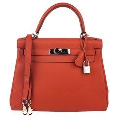 Hermes Kelly 28 Rouge Casaque Red Palladium Hardware 2016