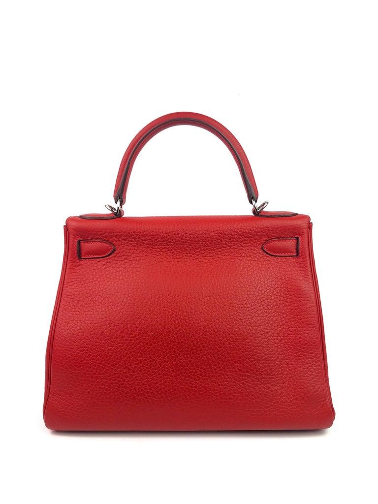 Women's or Men's Hermes Kelly 28 Rouge Casaque Red Palladium Hardware  For Sale