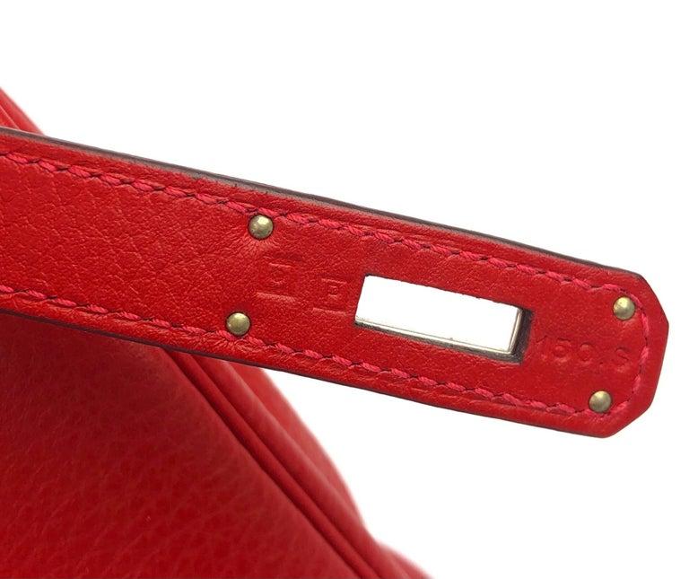 Hermes Kelly 28 Rouge Casaque Red Palladium Hardware  For Sale 4