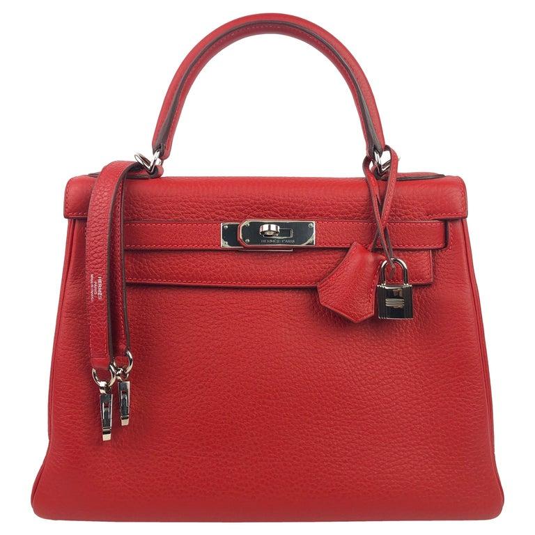 Hermes Kelly 28 Rouge Casaque Red Palladium Hardware  For Sale