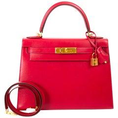 Hermès Kelly 28 Rouge Vif Veau Tadelakt GHW