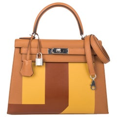 Hermes Kelly 28 Sellier Bag Lettre S Toffee Jaune Ambre Fauve Palladium