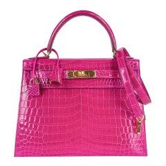 Hermes Kelly 28 Sellier Bag Rose Scheherazade Crocodile Gold Hardware