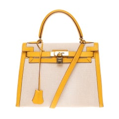 Hermès Kelly 28 sellier strap handbag in canvas & yellow courchevel leather, GHW