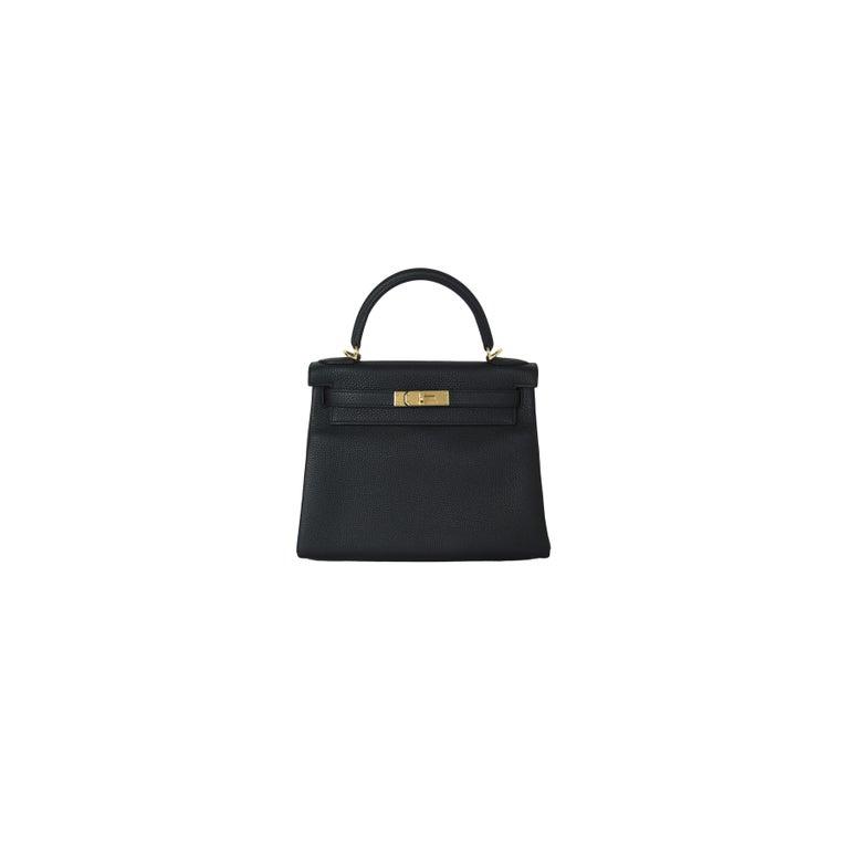 Women's or Men's Hermes Kelly 28 Togo Bag Gold Hardware Black For Sale
